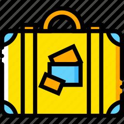 journey, luggage, travel, voyage, yellow icon