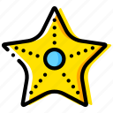 journey, starfish, travel, voyage, yellow icon