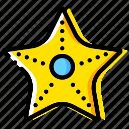 journey, starfish, travel, voyage, yellow icon