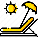 journey, sunbed, travel, voyage, yellow icon