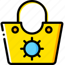 bag, beach, journey, travel, voyage, yellow icon