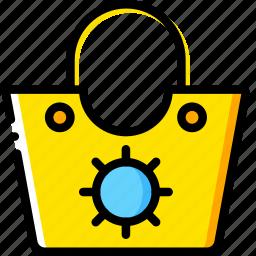 bag, beach, journey, travel, voyage, yellow icon