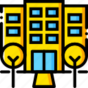 hotel, journey, travel, voyage, yellow icon