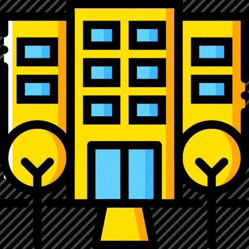 hotel, journey, travel, voyage, yellow icon