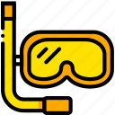 diving, gear, journey, travel, voyage, yellow icon