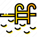 journey, pool, travel, voyage, yellow icon