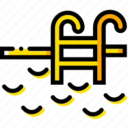 journey, pool, travel, voyage, yellow icon