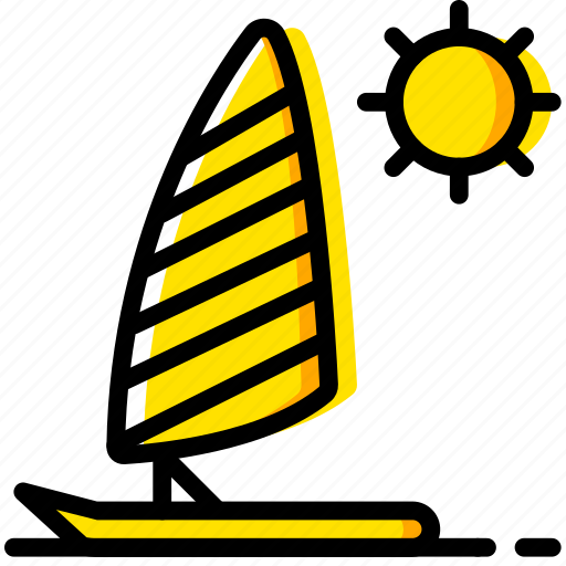 journey, parasailing, travel, voyage, yellow icon