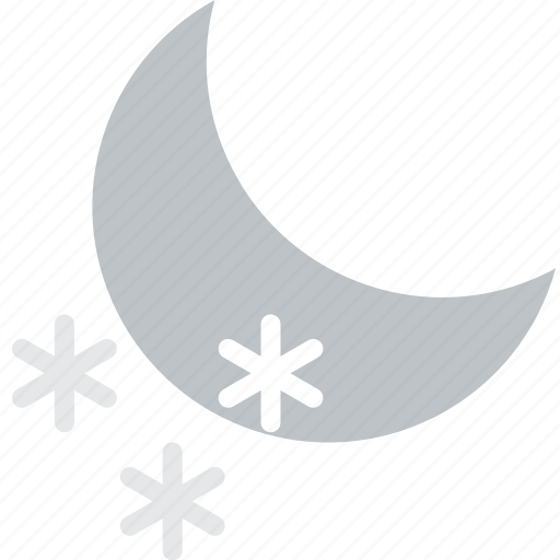 clouds, forecast, nighttime, snow, sun, weather icon