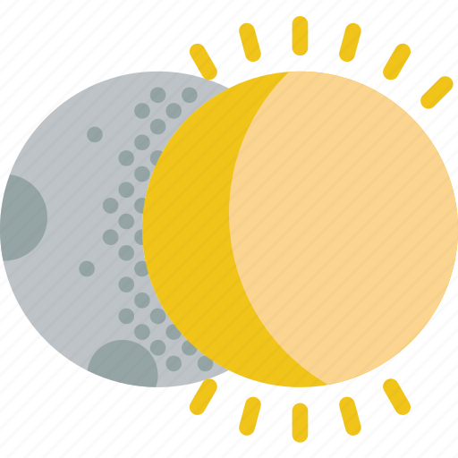 clouds, eclipse, forecast, moon, sun, weather icon