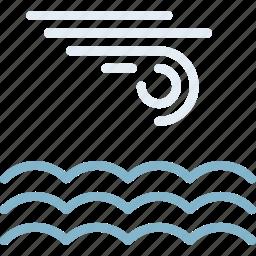 calm, clouds, forecast, sea, sun, weather icon