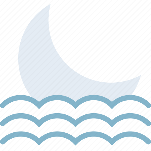 clouds, forecast, moon, seaside, setting, sun, weather icon