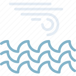 clouds, forecast, ocean, storm, sun, weather icon