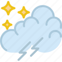clouds, forecast, nighttime, storm, sun, weather icon