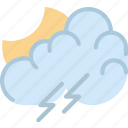 clouds, evening, forecast, storm, sun, weather icon