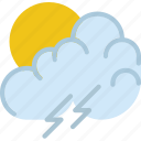 clouds, forecast, morning, storm, sun, weather icon