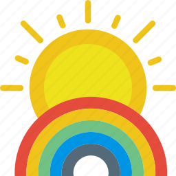 clouds, forecast, rainbow, sun, sunny, weather icon