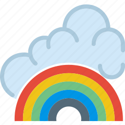 clouds, forecast, fresh, rainbow, sun, weather icon