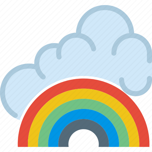 clouds, forecast, fresh, rainbow, sun, weather icon