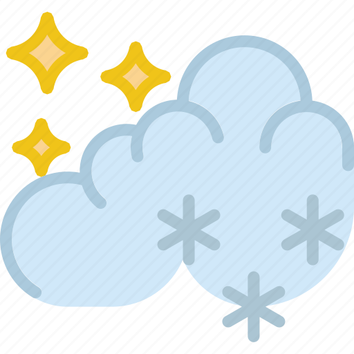clouds, forecast, night, snow, sun, weather icon