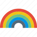 clouds, forecast, rain, rainbow, sun, weather icon