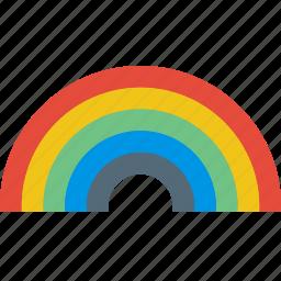 clouds, forecast, rain, rainbow, sun, weather icon