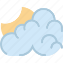clouds, cloudy, forecast, night, sun, weather icon