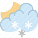 clouds, forecast, night, snowy, sun, weather icon