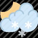 clouds, forecast, night, snowy, sun, weather