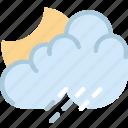 clouds, forecast, night, rainy, sun, weather