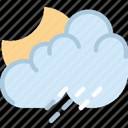 clouds, forecast, night, rainy, sun, weather icon
