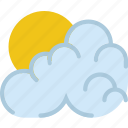 clouds, cloudy, forecast, morning, sun, weather icon