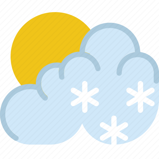 clouds, forecast, morning, snow, sun, weather icon