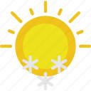 clouds, forecast, snowing, sun, sunny, weather icon