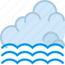 clouds, forecast, incoming, sun, tide, weather icon