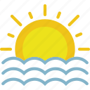 clouds, forecast, seaside, sun, sunset, weather icon