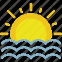 clouds, forecast, seaside, sun, sunset, weather