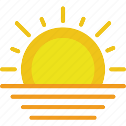 clouds, forecast, sun, sunset, weather icon