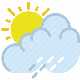 clouds, forecast, rain, summer, sun, weather icon