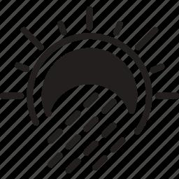 forecast, precipitations, rain, solid, sun, weather, with icon