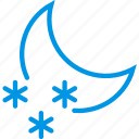 moon, night, nighttime, snow, snowflake, weather, webby icon