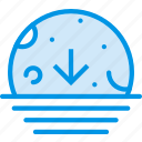 descending, moon, sea, sky, weather, webby icon