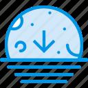 descending, moon, sea, sky, weather, webby icon