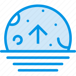 ascending, moon, sea, sky, weather, webby icon