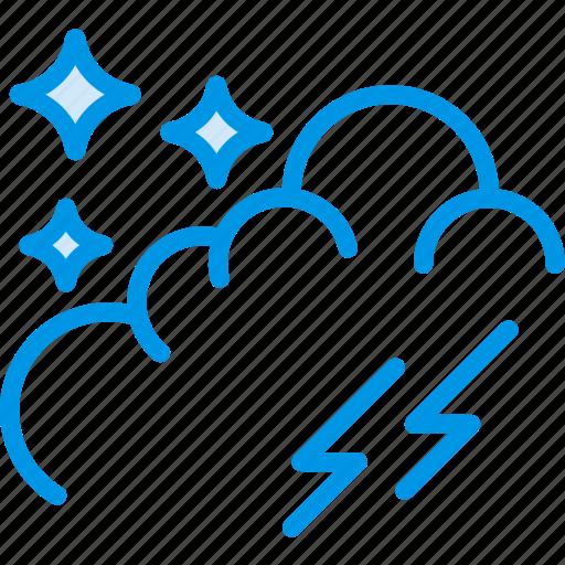 forecast, lightning, nighttime, storm, weather, webby icon