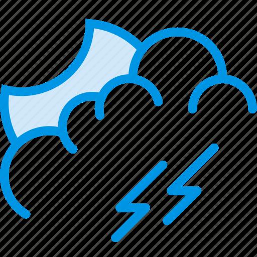 evening, forecast, lightning, storm, weather, webby icon
