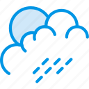 cloud, forecast, morning, rain, sun, weather, webby icon