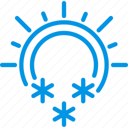 and, forecast, snowflake, snowing, sunny, weather, webby icon
