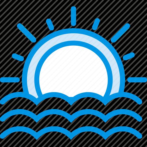forecast, ray, seaside, sun, sunset, weather, webby icon