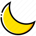 forecast, moon, weather, yellow icon